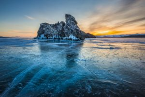 Lake Baikal (Frozen solid during winter)
