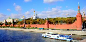 A view of the Kremlin's walls and towers, Russia
